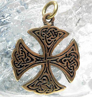 Offen Neu Bronze Anhänger Keltisch Kreuz Keltenkreuz St. Patrick Kreuz Kettenanhänger