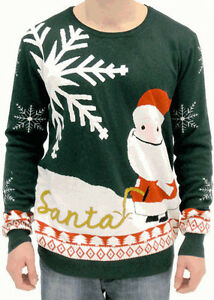 Adult-Jumper-Ugly-Christmas-Sweater-Happy-Santa-Claus-Peeing-Name-Santa-in-Snow