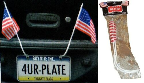 2pc LICENSE PLATE MOUNTED USA TAG FLAGS american car motorcycle patriotic us G16