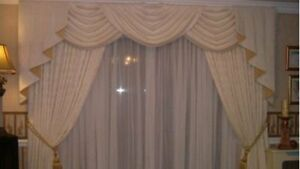 Image Is Loading Ivory Amp Gold Designer Curtains Swags Tails