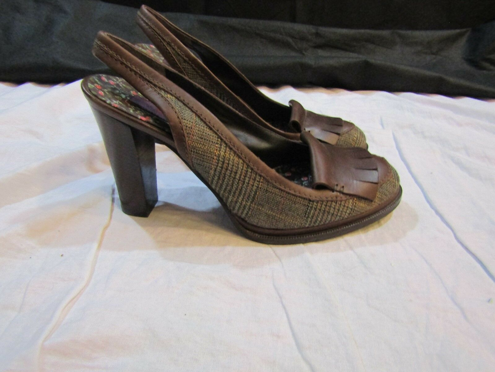 KENZO marron Plaid Woven Round Toe Slingback Pumps Pumps Pumps Heels - Taille 37.5 USA 7 NWOB 5ab522