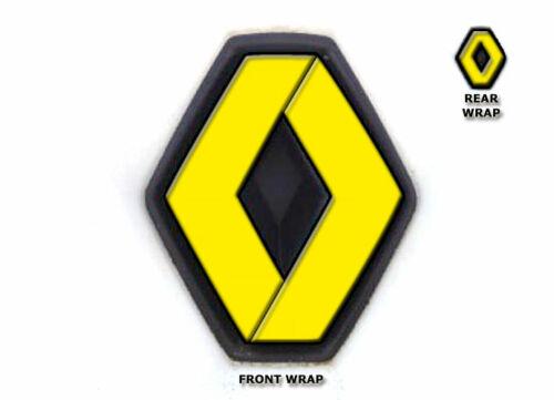 RENAULT TWINGO II 2007-2011 Vinyle Overlay Wrap Badges Set avant et arrière jaune