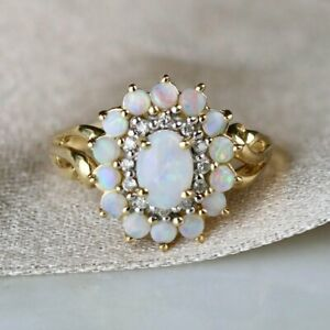 3CT-Oval-amp-Round-Cut-Opal-14k-Yellow-Gold-Over-Diamond-Halo-Cluster-Wedding-Ring