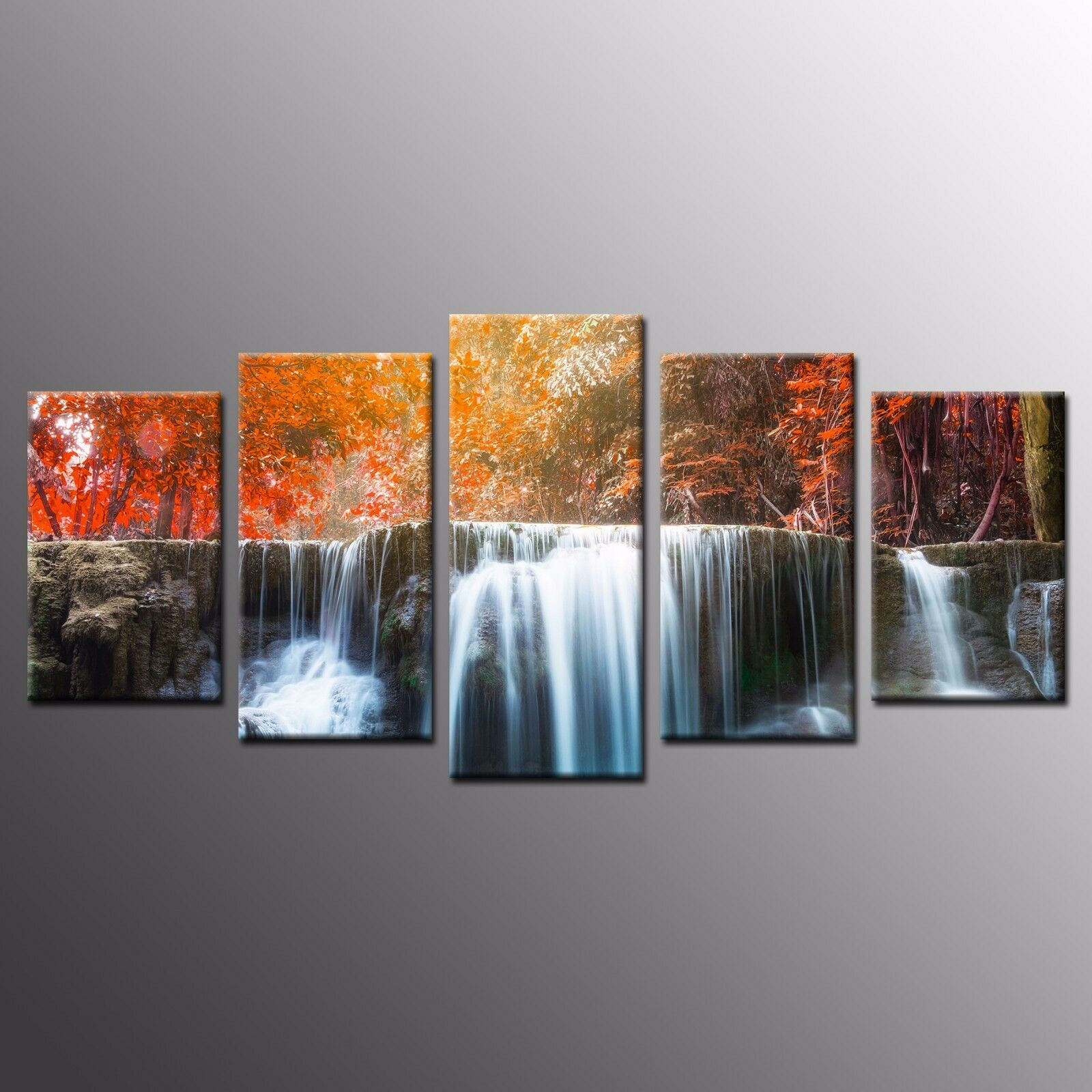 FRAMED Canvas Wall Art For Home Decor Autumn Waterfall Photo Canvas Print-5pcs