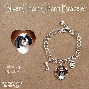 JAPANESE CHIN DOG HEART EARRINGS Ornate Tibetan Silver