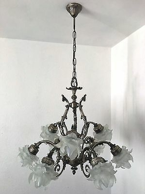 Kronleuchter Chandelier Decken Lampe 9-fl. Messing Silberfarben Frankreich