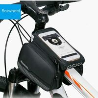 Roswheel 5.5'' Touch Screen Bicycle Front Tube Phone Bag Holder Double Pouch Us on sale
