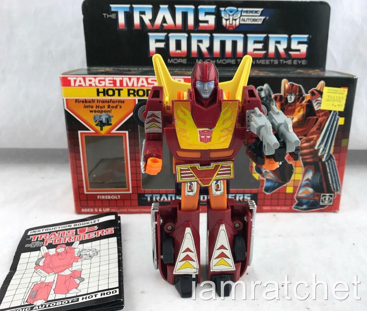 Transformers Original G1 1987 Targetmaster Hot Rod Complete w  Box Print Correct