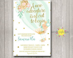 Image Is Loading Custom Printable Baby Shower Invitation Neutral Hot Air