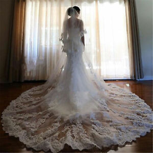 2018-Ivory-White-Lace-Applique-Wedding-Bridal-Veils-3M-Cathedral-Length-Comb