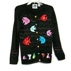 Storybook-Knits-Sweater-Size-Small-Cardigan-Art-To-Wear-Tropical-Aquarium-Fish