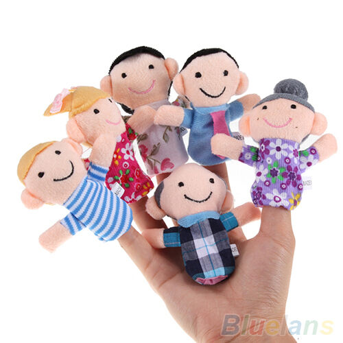 IG_ 6PCS Baby Kids Plush Cloth Play Game Learn Story Family Finger Puppets Toys