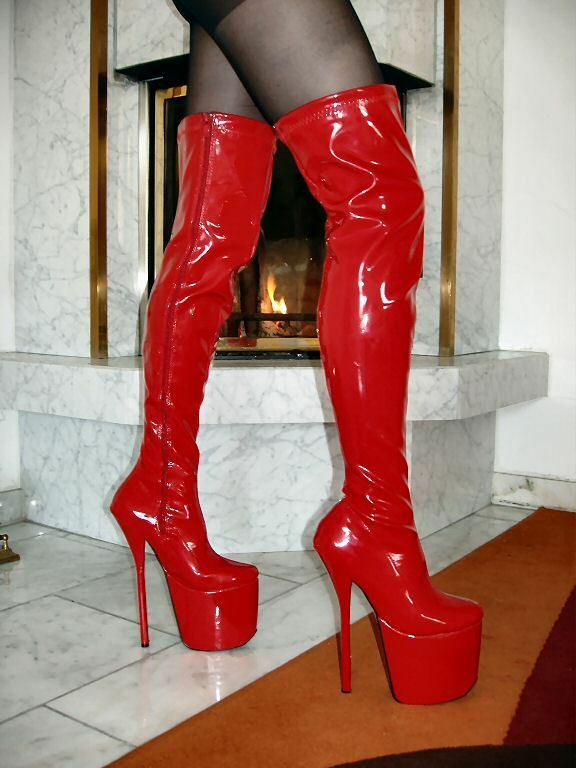 Mega Extreme Platform Patent High Heels Overknee Boots Red 37 Stiletto Heel 20cm