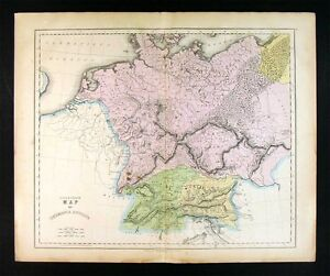 1859 Gall Inglis Map Germania Ancient Germany Austria Bohemia