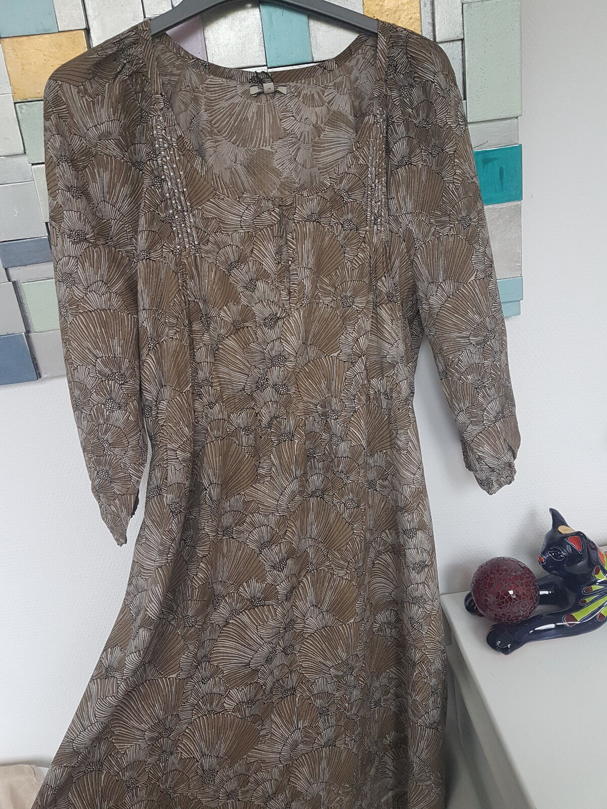 NOA NOA bezauberndes Kleid Beige hellbraun mit tollen Schnitt neu Gr L M    G118