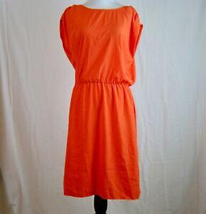 Mossimo-Women-039-s-Orange-Cap-Sleeve-Elastic-Waist-Back-Zip-Dress-Size-M