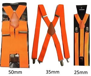 211461ad0b480 Détails sur Orange Hommes Femmes Bretelles Élastique Large Durable Pantalon  25mm 35mm 50mm