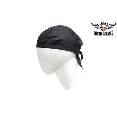 NEW Adjustable Soft Cotton Basic Skull Cap Beanie Bandana Head Wrap BLACK BOGO