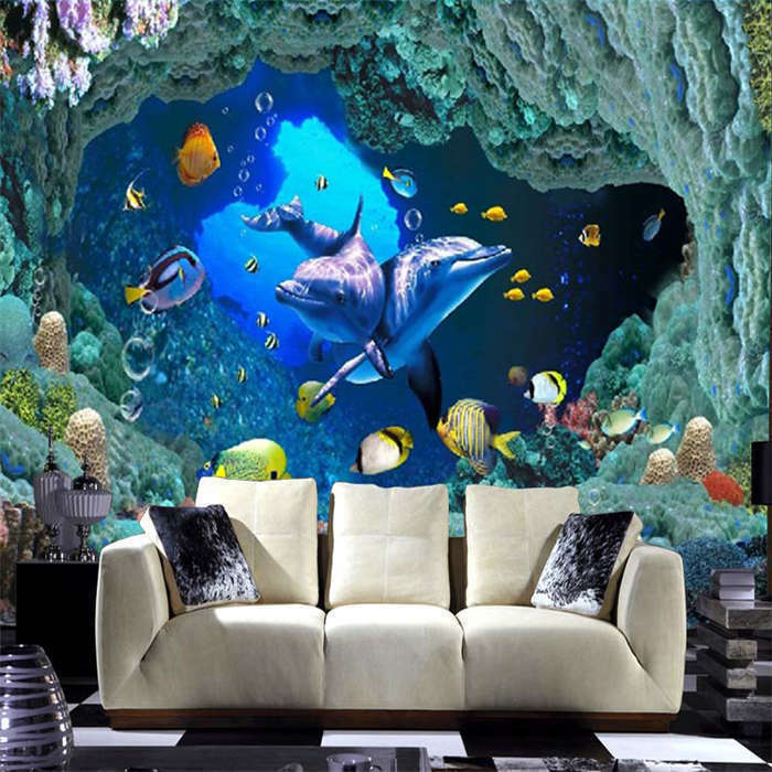 Two Two Two Dophins Swim Fish Full Wall Mural Photo Wallpaper Print Home Kids 3D Decal a5e788