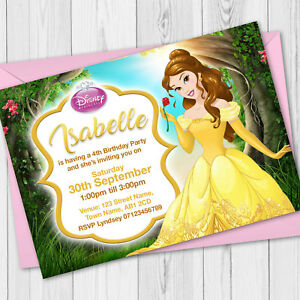 Image Is Loading Personalised Disney Princess Birthday Party Invitations Belle