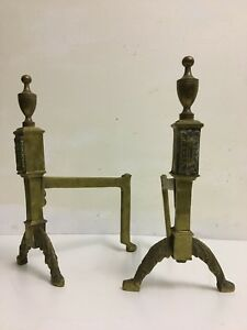 Surprising Details About Antique Edwardian Brass Companion Andirons Rests Set Fireplace Tools Qp218 Download Free Architecture Designs Aeocymadebymaigaardcom