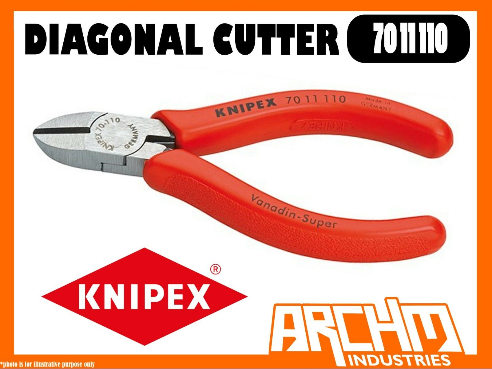 KNIPEX 7011110  - DIAGONAL CUTTER - 110MM - CUTTING EDGES HARDENED PRECISION