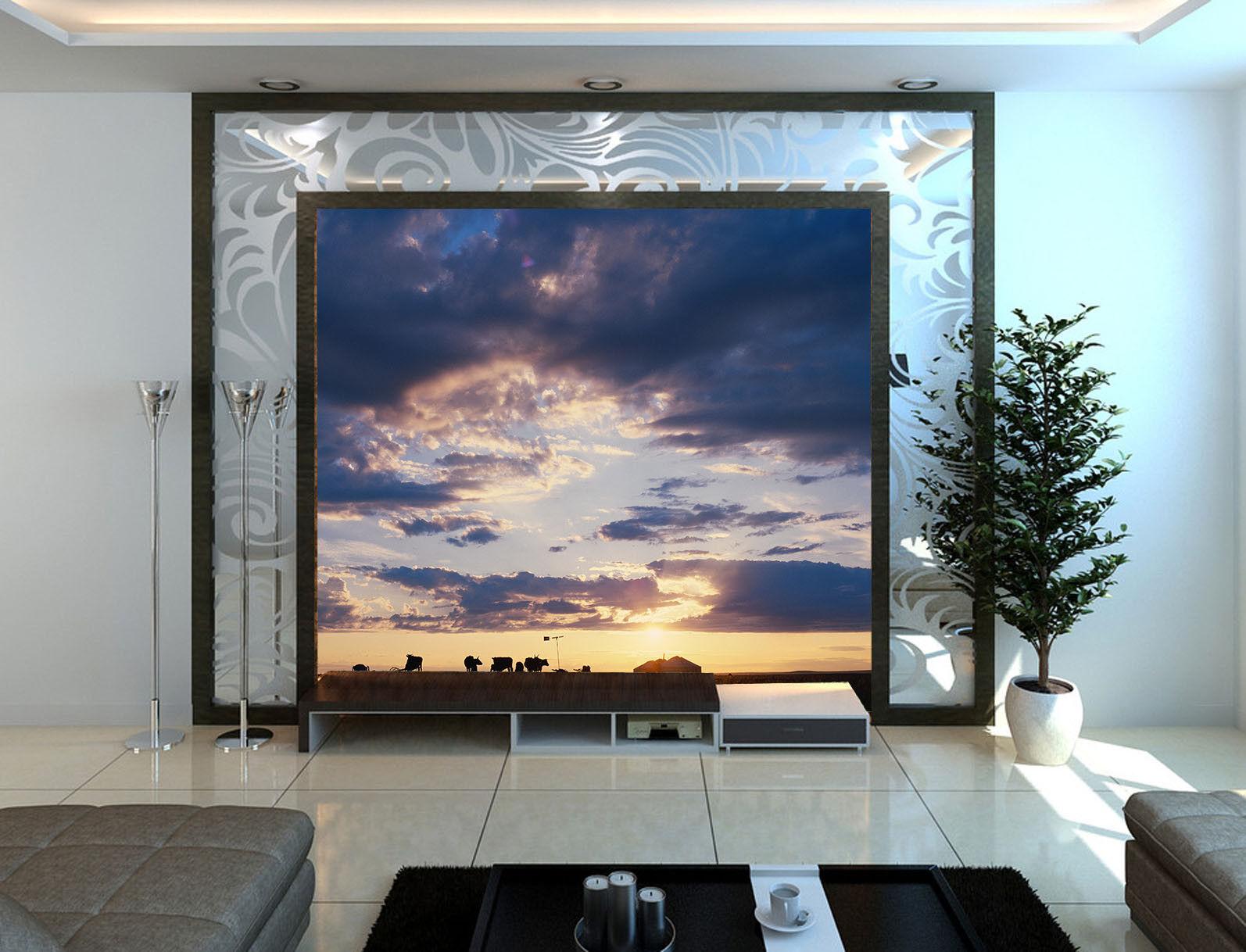 3D Dämmerung Wolken 845 Tapete Wandgemälde Tapete Tapeten Bild Familie DE Summer