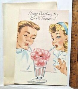 VINTAGE-1960S-GIRL-amp-BOY-TEENAGERS-SHARING-MILKSHAKE-AUSSIE-BIRTHDAY-CARD-UNUSED