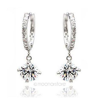 New Korea Jewelry Swarovski Crystal Ear Stud Womens 925 Sterling Silver Earrings
