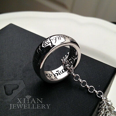 LORD OF THE RINGS 18K White Gold Plated Pendant, Men Gift Jewelry  N238