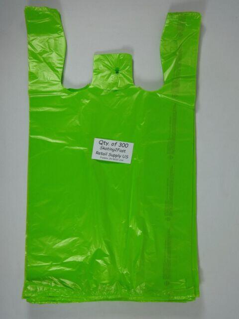 300 Qty. Lime Green Plastic T-Shirt Retail Shopping Bags Handles 11.5