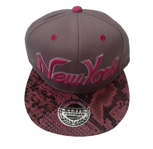 Baseball State Property New York Snakeskin Snapback Flat Peak Hat Clearance Sale