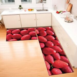 Details About Red Strawberry Fruit Kitchen Area Rugs Living Room Floor Door Mat Bedroom Carpet