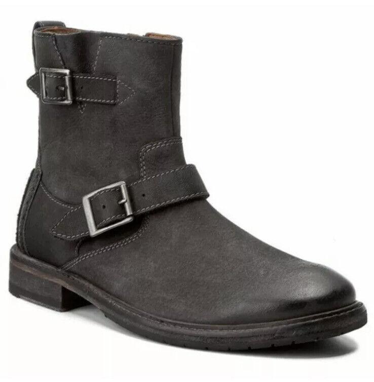 Clarks Mens Clarkdale Cash Black Nubuck Leather Biker Ankle Boot UK 7 G EUR 41