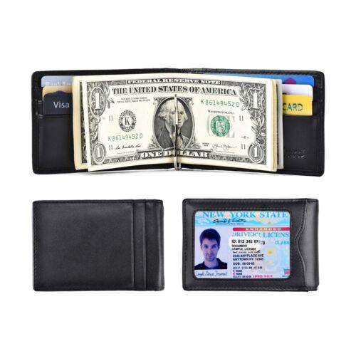RFID Blocking Minimalist Bifold Wallet for Men Slim Wallet with Money Clip