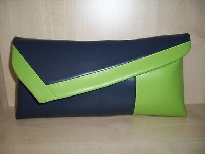 lined Handmade in the UK BN NAVY BLUE /& LIME GREEN faux leather clutch bag