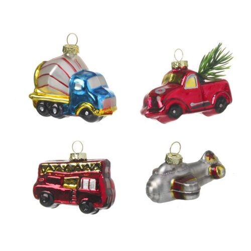 Heaven Sends Set of 4 Vintage Transport Christmas Tree Glass Decorations