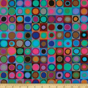 Free-Spirit-Kaffe-Fassett-Tiddlywinks-PWGP171-Blue-Cotton-Fabric-BTY