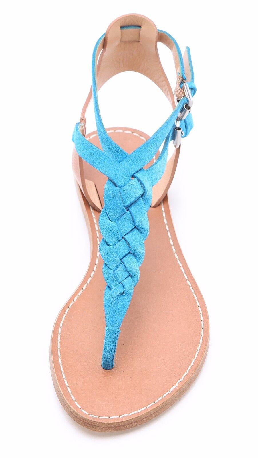Belle By Sigerson Morrison Suede Sky Blau Rank Braided Suede Morrison T-Strap Sandales Größe 6.5 549a2f