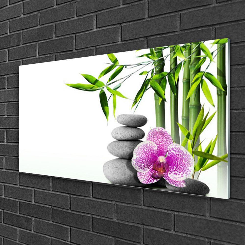 Image sur verre acrylique Tableau Impression 100x50 Floral Bambou Pierres Fleurs