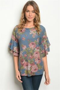 New-USA-Ladies-Boho-Blue-Floral-Short-Sleeve-Western-Fall-Tunic-Top-Blouse-M-L