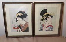 antique vintage Japanese Kitagawa Utamaro lady portrait figural woodblock print