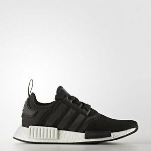 new concept a5b48 855ce Image is loading Adidas-NMD-R1-J-Core-Black-White-Mesh-