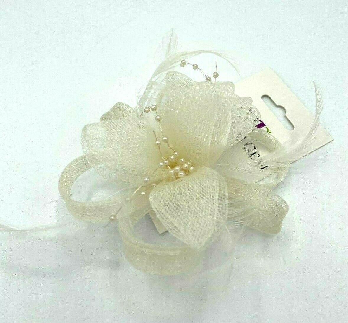 * New ivory cream clip on fascinator corsage hair flower brooch wedding bridal