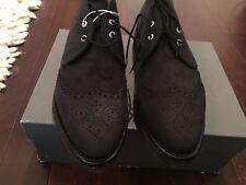 NIB Thom Browne Black Suede Wingtip Ankle Boot
