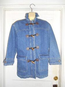 Nwot Liz Claiborne Liz Wear Women's Denim Toggle Flannel Lined Jacket Sz. Petite by Liz Claiborne