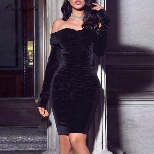 Woman New Winter Velvet Long Sleeve Black Off Shoulder Bodycon Party Dress