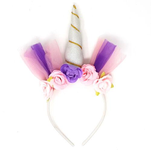 Glitter Flower Unicorn Head Band Magical Childrens Girls Fancy Dress Accessory