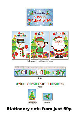 Christmas Xmas 5 Piece Stationery Set Stocking Filler Party Loot Bag Gift