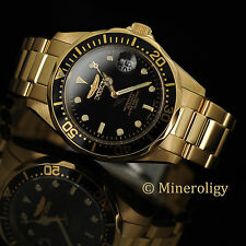 NEW Invicta Pro Diver 18k GOLD PLATED Black Dial Quartz 38mm Date SS Men's Watch